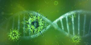 Grünes Virus in grüner Doppelhelix