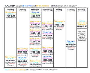 Terminplan für Juli 2020