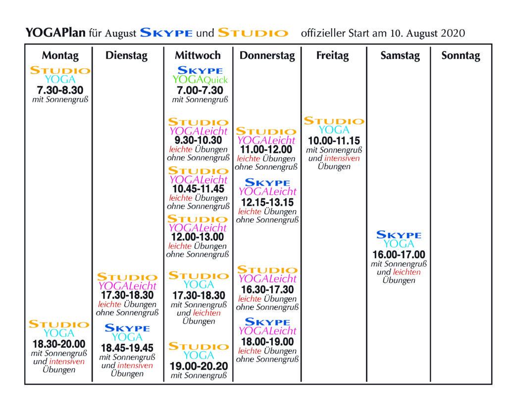 Yoga-Kursplan August 2020