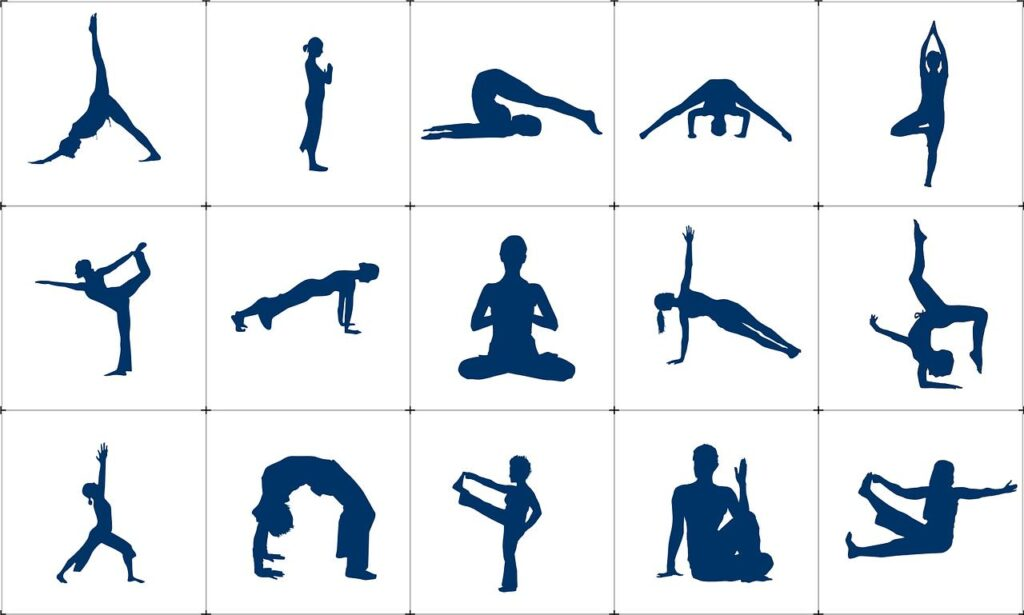Diverse Yoga-Figuren gezeichnet